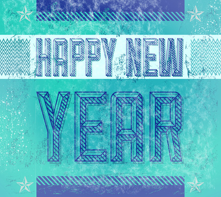 original: Old Sign - Grunge Happy new year card - poster - industrial style