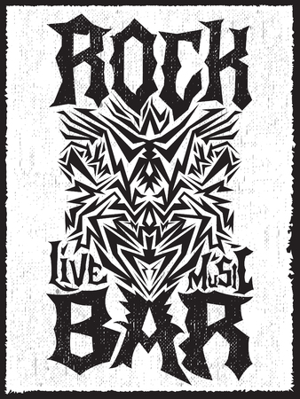 hardcore: Rock Bar Hardcore poster design template - Rock Pub monochrome label Illustration