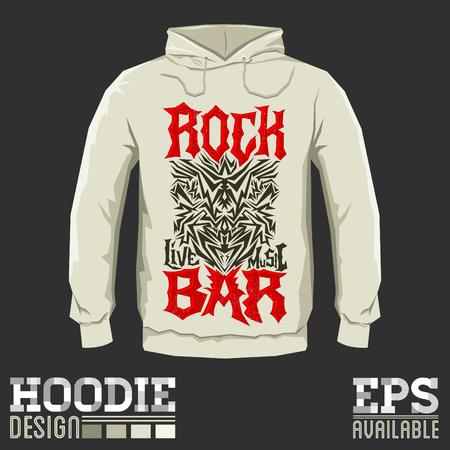 hoodie: Rock Bar - Vector hoodie print design - print template sweatshirt Cool hardcorel