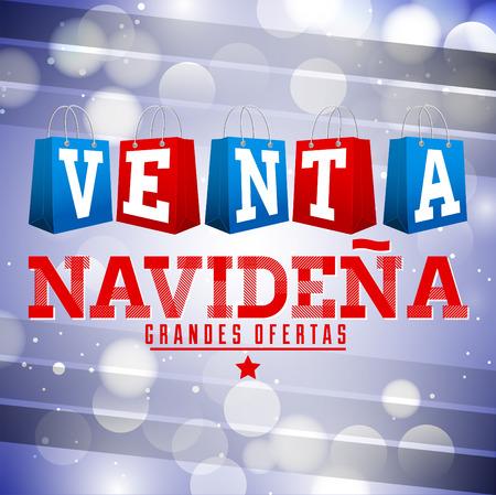Venta Navidena - Christmas sale spanish text - vector christmas bags with fantasy decoration Illustration