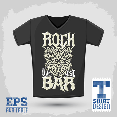 Rock Bar T shirt design template, silkscreen metal style vector lettering
