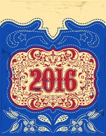 2016 年末年始デザイン - 洋風 - カウボーイ ベルト バックル