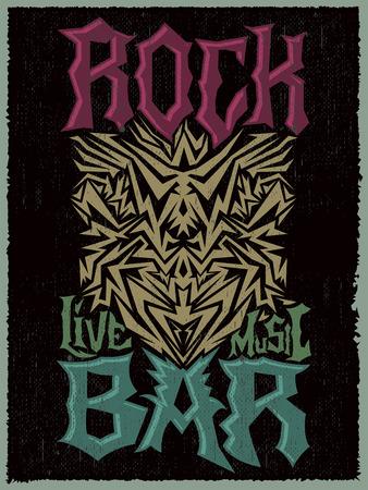 hardcore: Rock Bar Hardcore poster design template - Rock Pub vector poster