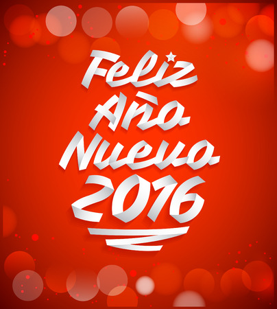 tittle: Feliz Ano nuevo 2016 - happy new year 2016 spanish text vector made with ribbons - typographic design Illustration