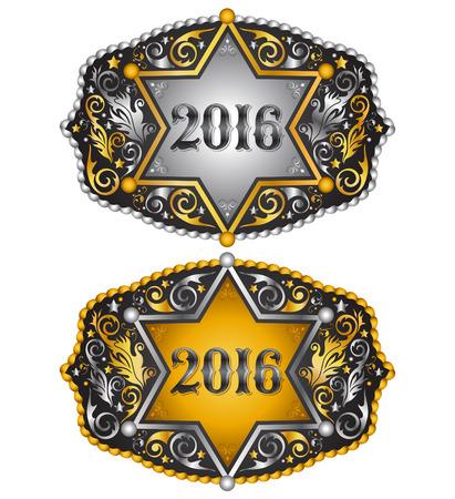 カウボーイ 2016 年保安官バッジ ベルト バックル デザイン、2016年西洋紋章  イラスト・ベクター素材