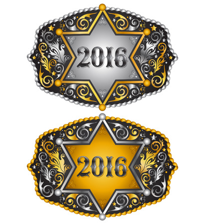 belt buckle: Cowboy 2016 year sheriff badge belt buckle design, 2016 western emblem Illustration