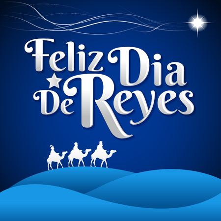 three children: Feliz Dia de reyes - Happy Day of kings spanish text - is a latin tradition for having the children receive presents by the three wise men on the night of January 5