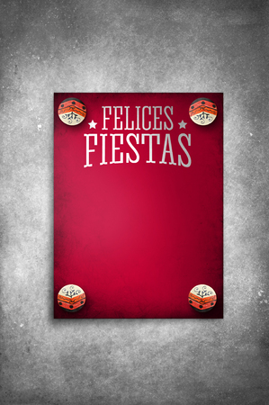 fiestas: Felices Fiestas - Happy Holidays Vintage spanish text - Red template poster on rustic texture background - ready for your text Stock Photo