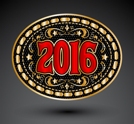 belt buckle: Cowboy 2016 year oval belt buckle design, 2016 western emblem