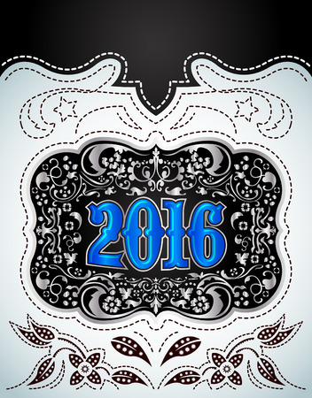 2016 New Year holidays design - western style - cowboy belt buckle