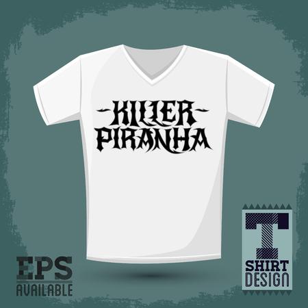 t shirt print: Killer Piranha - Lettering vector emblem - t - shirt print design