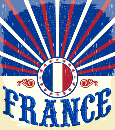 french flag: France vintage old poster with french flag colors - card vector design, France holiday decoration Illustration