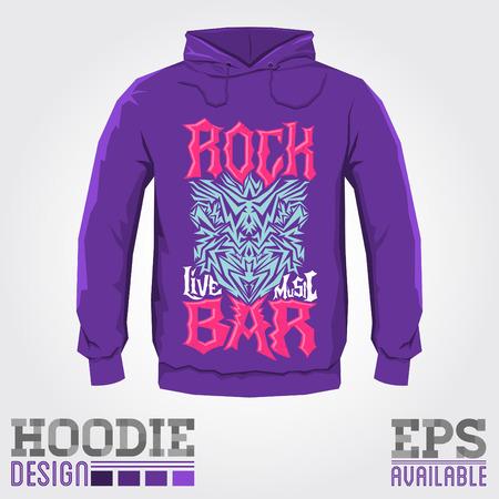 hoodie: Rock Bar - Vector hoodie print design - sweatshirt Cool hardcorel print template Illustration