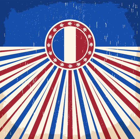 armistice: France vintage old poster with french flag colors - card vector design, France holiday decoration Illustration