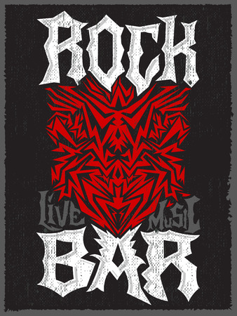 hard rock: Rock Bar Hardcore poster design template - Rock Pub vector poster