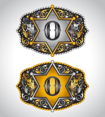 カウボーイのロデオ ベルト バックル デザイン - 文字 O - アルファベットの初期ベクター デザイン