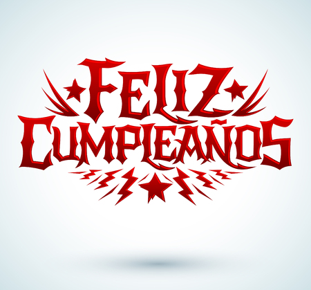 punk rock: Feliz Cumpleanos - happy birthday spanish text - vector hardcore punk - rock lettering