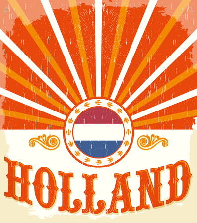 Holland vintage old poster with Netherlands flag colors - card vector design, Holland holiday decoration 版權商用圖片 - 50554009