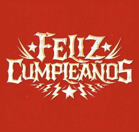 hardcore: Feliz Cumpleanos - happy birthday spanish text - vector hardcore punk - rock lettering