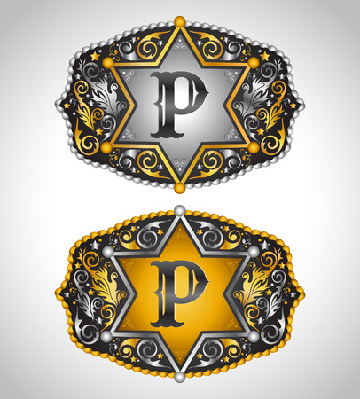initial: Cowboy Rodeo belt buckle design - Letter P - Alphabet initial vector design