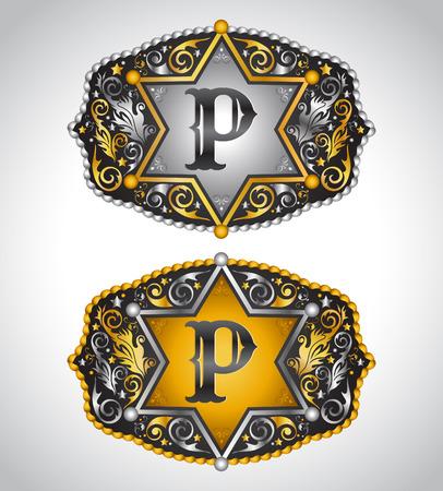 Cowboy Rodeo belt buckle design - Letter P - Alphabet initial vector design