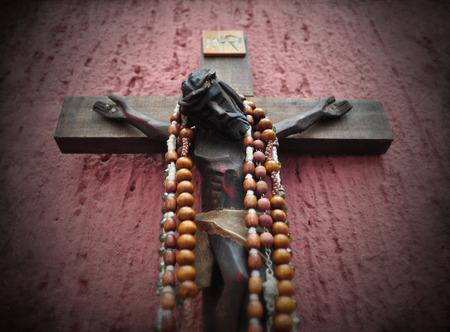 vignette: Mexican wooden crucifix with vignette