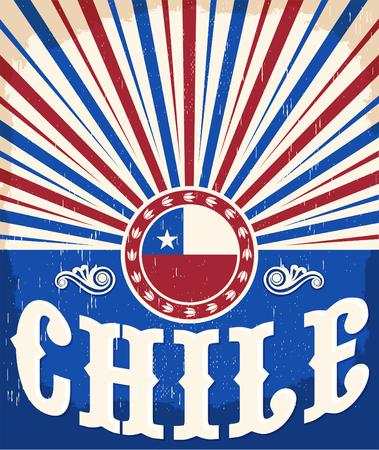 bandera de chile: Chile pattic vendimia cartel - diseño de la tarjeta de vectores, decoración de fiesta chilena