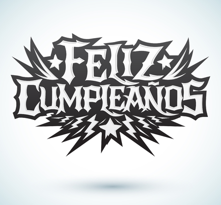 hardcore: Feliz Cumpleanos - happy birthday spanish text - vector hardcore punk - rock lettering