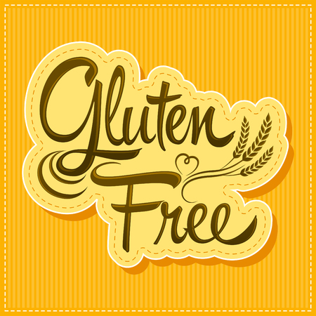 wheat grain: Gluten Free - vector lettering label with wheat
