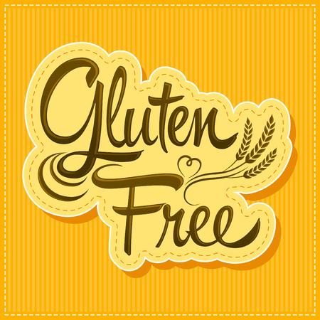 produits céréaliers: Sans Gluten - vecteur étiquette de lettrage avec le blé