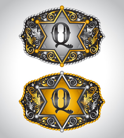 quin: Cowboy Rodeo belt buckle design - Letter Q - Alphabet initial vector design