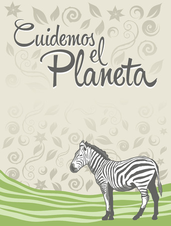 Cuidemos el Planeta - Care for the Planet spanish text - Vector ecology concept design Illustration