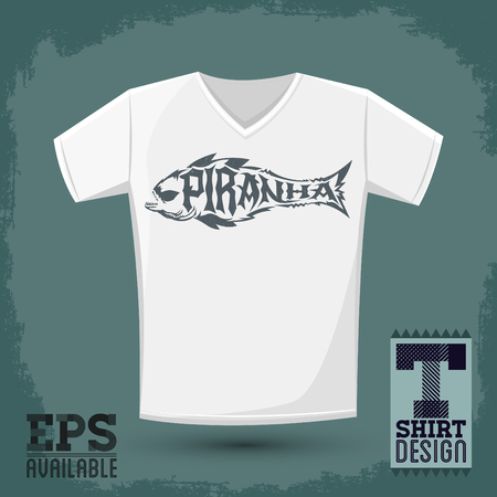 voracious: Piranha vector lettering with the shape of a fish t-shirt print template, silkscreen vector lettering design