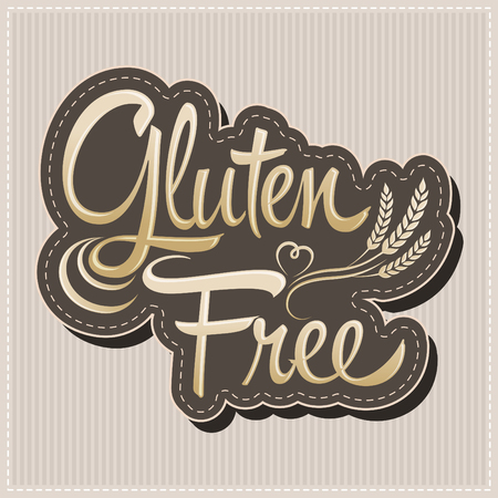 diabetes food: Gluten Free - vector lettering label with wheat