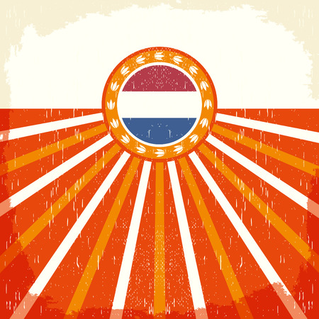 Holland vintage old poster with Netherlands flag colors - card vector design, Holland holiday decoration 版權商用圖片 - 51828904