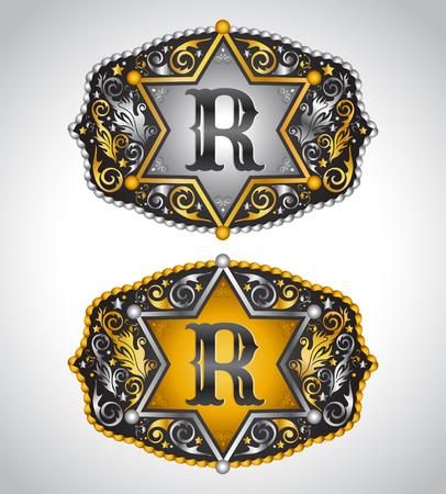 カウボーイのロデオ ベルト バックル デザイン - 文字 R - アルファベットの初期ベクター デザイン  イラスト・ベクター素材