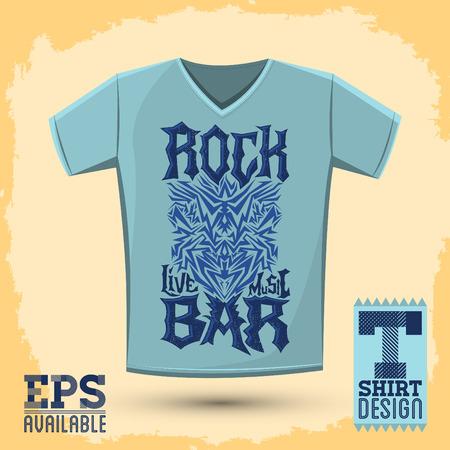 t shirt design: Rock Bar T shirt design template, silkscreen metal style vector lettering