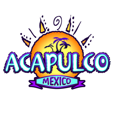 mexico beach: Acapulco Mexico - Illustration icon, emblem design Stock Photo