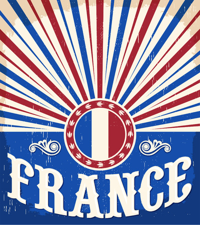 solstice: France vintage old poster with french flag colors - card vector design, France holiday decoration Illustration