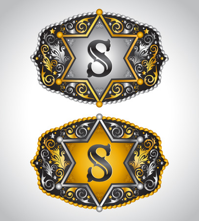 initial: Cowboy Rodeo belt buckle design - Letter S - Alphabet initial vector design