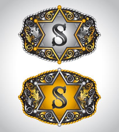 Cowboy Rodeo belt buckle design - Letter S - Alphabet initial vector design