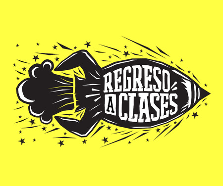 study icon: Regreso a clases - Back to school spanish text - vector lettering rocket launch