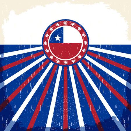 bandera chilena: Chile pattic vendimia cartel - diseño de la tarjeta de vectores, decoración de fiesta chilena