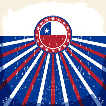 chilean flag: Chile vintage patriotic poster - card vector design, Chilean holiday decoration