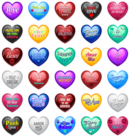 relationships: Love Hearts with spanish messages - vector master collection heart label with love, valentines, anniversary, relationship, wedding and cheerful text