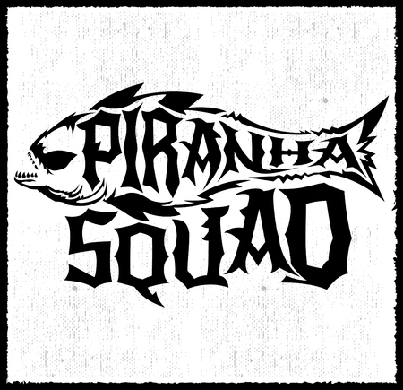 hardcore: Piranha Squad - vector hardcore style lettering, Team emblem Illustration