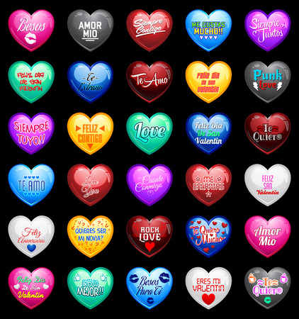 14 february: Love Hearts with spanish messages - vector Illustration