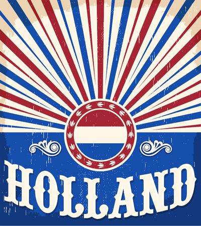 Holland vintage old poster with Netherlands flag colors - card vector design 版權商用圖片 - 53538542