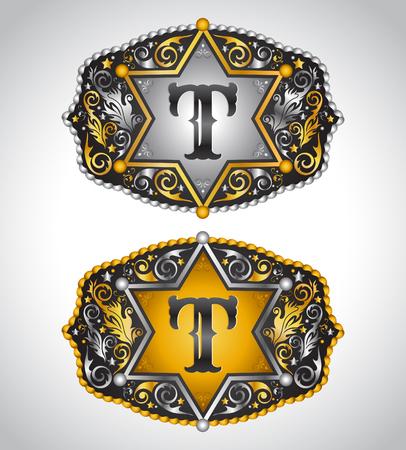 カウボーイのロデオ ベルト バックル デザイン - 文字 T - アルファベットの初期ベクター デザイン  イラスト・ベクター素材