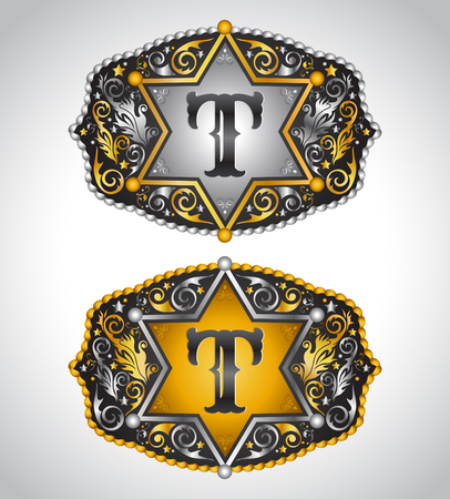 Cowboy Rodeo belt buckle design - Letter T - Alphabet initial vector design